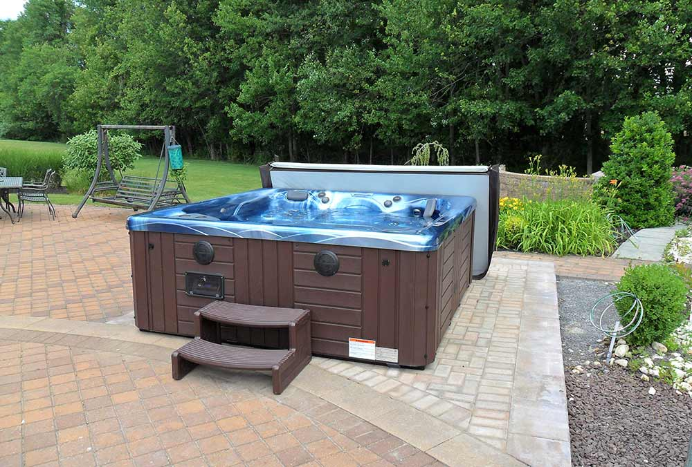 Hot tub on paver patio