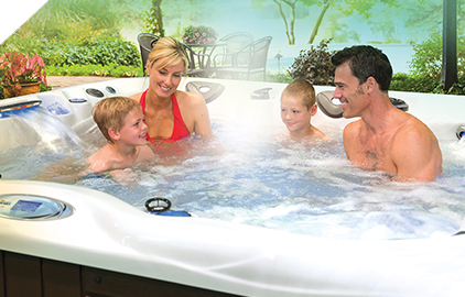 A hot tub is fun for the whole family