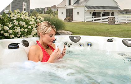 Start your morning off right with a cup of coffee and a rejuvinating soak in your portable spa