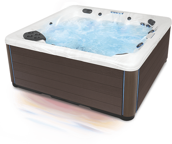 Three quarter view of a twilight series hot tub